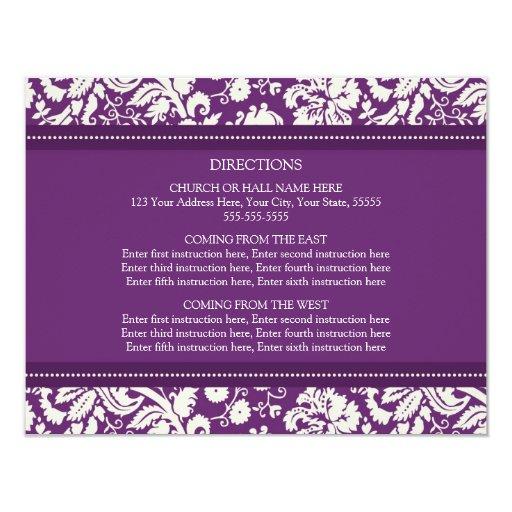 """La dirección del boda carda el damasco del ciruelo invitación 4.25"""" x 5.5"""""""