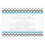 La dirección del boda carda el gris azul Chevron Invitaciones Personalizada