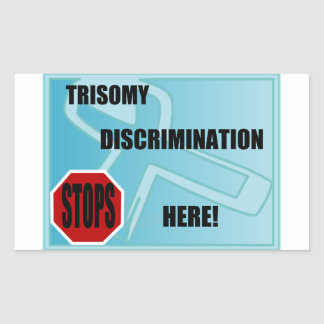 La discriminación del Trisomy para aquí Rectangular Pegatina