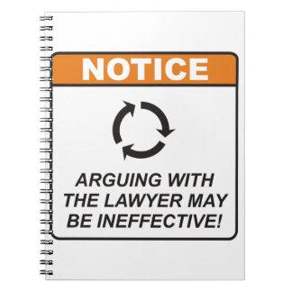 ¡La discusión con el abogado puede ser ineficaz! Libros De Apuntes Con Espiral