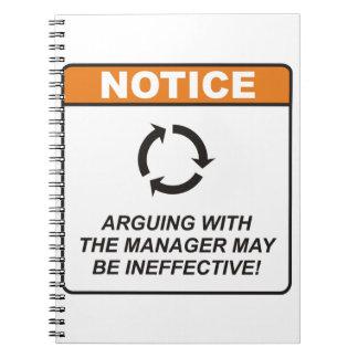 ¡La discusión con el encargado puede ser ineficaz! Libreta Espiral