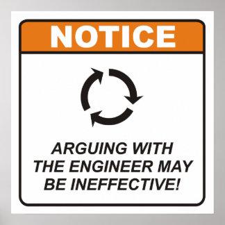 ¡La discusión con el ingeniero puede ser ineficaz! Poster