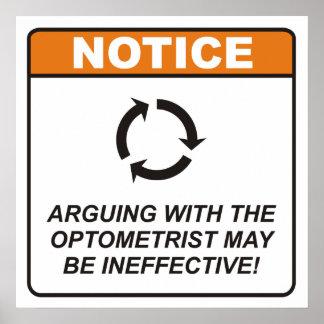 ¡La discusión con el optometrista puede ser inefic Póster