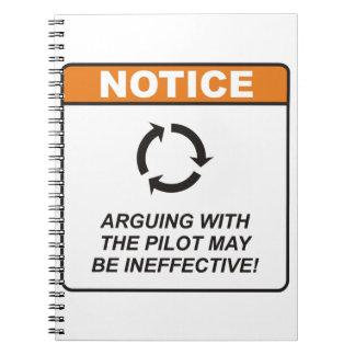 ¡La discusión con el piloto puede ser ineficaz! Cuadernos