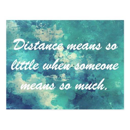 La distancia significa tan poca postal