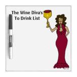 La diva del vino para beber la lista tablero blanco