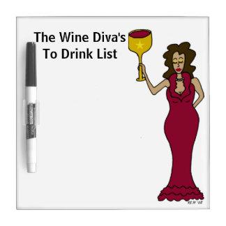 La diva del vino para beber la lista tableros blancos