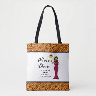"""La diva """"vino del vino es mi premio para ser bolsa de tela"""