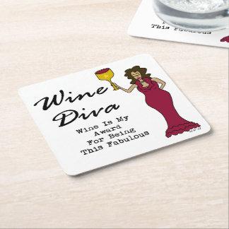 """La diva """"vino del vino es mi premio para ser posavasos desechable cuadrado"""