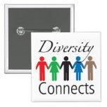 La diversidad conecta el botón cuadrado pin