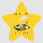 La diversidad es la especia de la estrella de la pegatina en forma de estrella