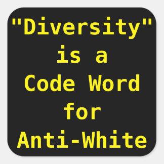 La diversidad es una palabra del código para pegatina cuadrada