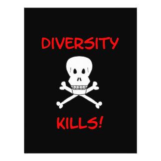 la diversidad mata al cráneo y a la bandera pirata flyer personalizado