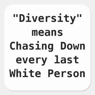 La diversidad significa la persecución abajo de la pegatina cuadrada