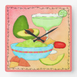 La diversión colorida del Guacamole de Margarita c Reloj De Pared