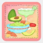 La diversión colorida del Guacamole de Margarita Pegatina Cuadrada
