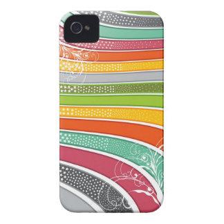 La diversión de las rayas del arco iris remolina c Case-Mate iPhone 4 protectores