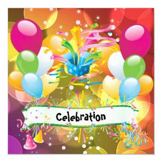 """La diversión del fiesta hincha la celebración de invitación 5.25"""" x 5.25"""""""