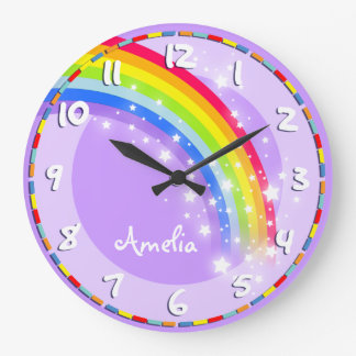 La diversión embroma el reloj de pared púrpura