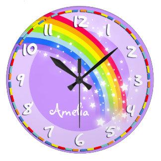 La diversión embroma el reloj de pared púrpura con