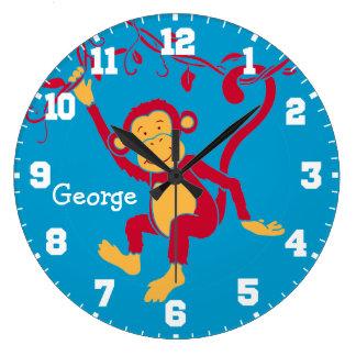 La diversión embroma el reloj rojo, azul y blanco