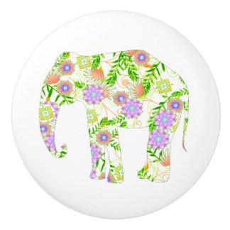 La diversión floreció el elefante pomo de cerámica