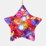 La diversión Jewels bonito vibrante de los colores Adorno Navideño De Cerámica En Forma De Estrella