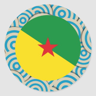La diversión llenó, bandera redonda de la Guayana Pegatina Redonda