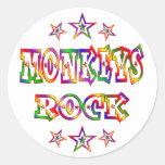 La diversión Monkeys la roca Etiquetas Redondas