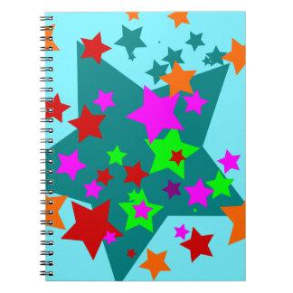 La diversión pegada estrella protagoniza el naranj libretas espirales