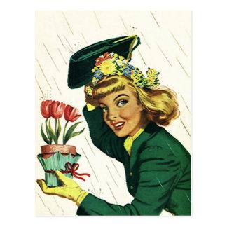 La diversión retra del fiesta de ducha del vintage postales