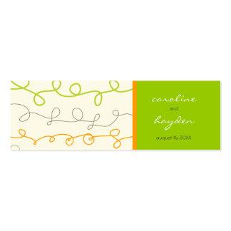 La diversión verde anaranjada retra del garabato l tarjetas de visita