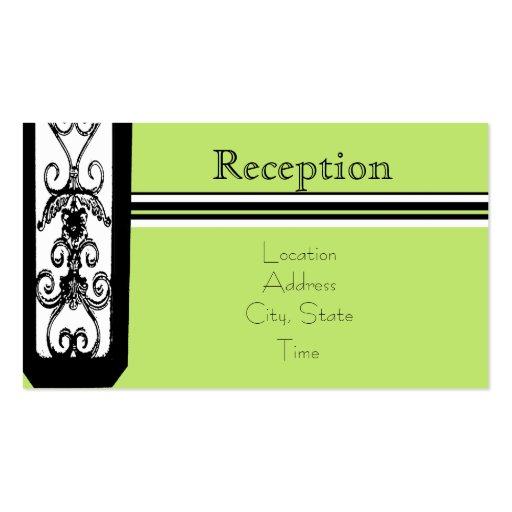 La diversión y la recepción verde invitan tarjetas de visita