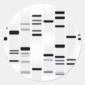 La DNA cifra negro del arte en blanco Etiqueta Redonda