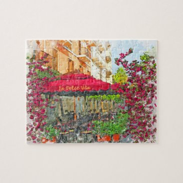 Beach Themed La Dolce Vita Cafe In Italy Watercolor Puzzle