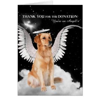 La donación le agradece perro del golden retriever tarjeta de felicitación