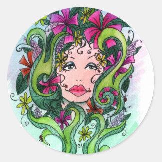 La doncella de la flor pegatina redonda