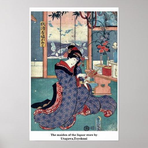 La doncella de la licorería por Utagawa, Toyokuni Impresiones