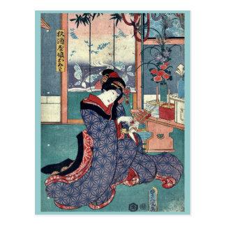 La doncella de la licorería por Utagawa Toyokuni Postal