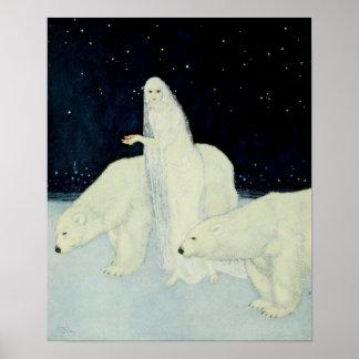 La doncella de la nieve que recolecta corazones póster