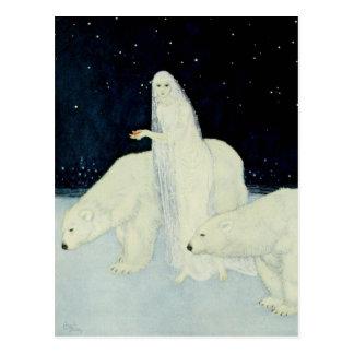 La doncella de la nieve que recolecta corazones tarjetas postales