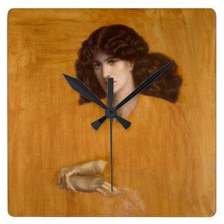 La Donna Della Finestra de Dante Gabriel Rossetti Reloj Cuadrado