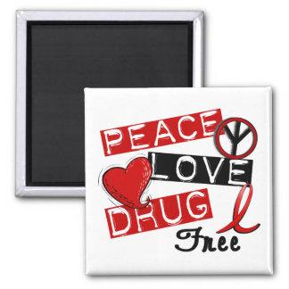 La droga del amor de la paz libera imán cuadrado