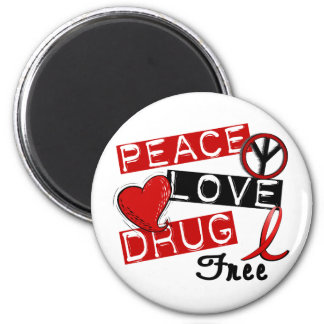 La droga del amor de la paz libera imán redondo 5 cm