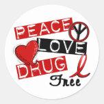 La droga del amor de la paz libera etiquetas redondas