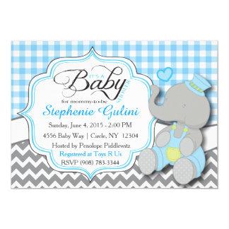 """La ducha azul del bebé del elefante invita invitación 5"""" x 7"""""""