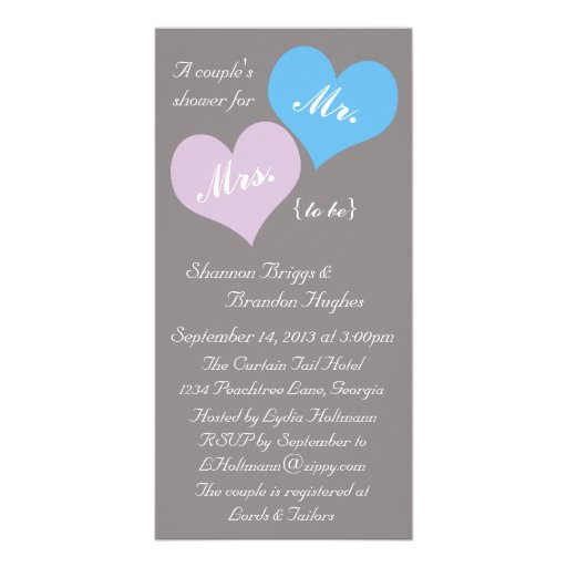 La ducha de dos corazones invita tarjeta personal