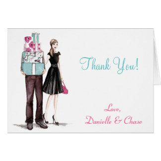 La ducha de los pares del boda le agradece las tar tarjeta