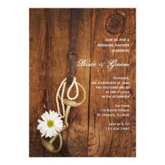 La ducha del boda del país del pedazo de la margar invitaciones personalizada