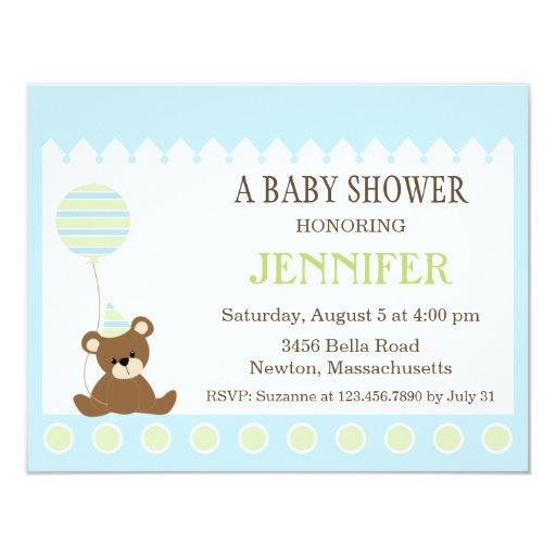 """La ducha del oso de peluche del bebé invita invitación 4.25"""" x 5.5"""""""